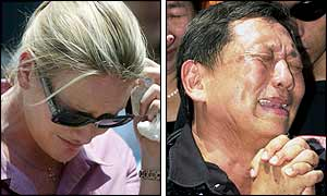 Western woman cries (PA) and an Indonesian man expresses grief at a memorial ceremony (AFP)