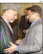 President Musharraf and Afghan leader Hamid Karzai