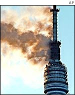 Ostankino tower on fire