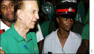 Edward Seaga with supporters