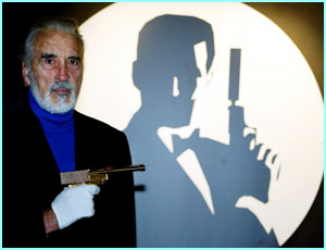 Christopher Lee, who played Scaramanga in The Man with the Golden Gun, at the Bond, James Bond Exhibition