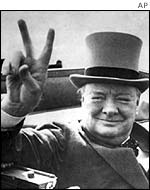Winston Churchill makes 'V for Victory' gesture