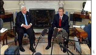 Ariel Sharon and George W Bush