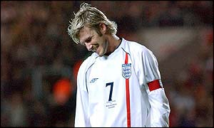 David Beckham is left dejected after England's poor display against Macedonia