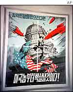 North Korean propaganda posters showing missiles hitting the US Capitol