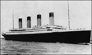 The Titanic, on its departure from Southampton