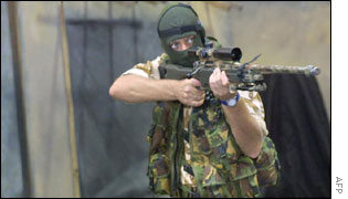 A British soldier demonstrates anti-terrorist tactics