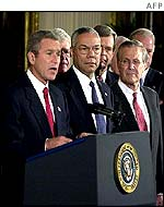 US leaders before Mr Bush signs into law resolution on Iraq