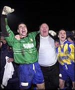 Canvey Island boss Jeff King celebrates an FA Cup victory