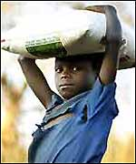 Malawian orphan with flour sack (photo: Tearfund)