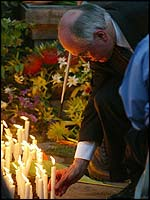 Australian PM John Howard at a memorial service in Bali