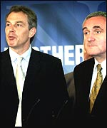 Prime Minister Tony Blair and Irish premier Bertie Ahern