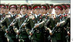 North Korean troops on parade