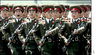 North Korean soldiers marching