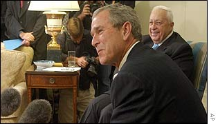 George Bush and Ariel Sharon