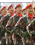 Indonesian soldiers marching