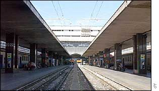 View of the deserted Rome Termini railway station