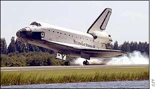 Atlantis touching down at Kennedy Space Center
