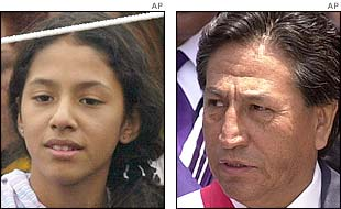 Peruvian President Alejandro Toledo (r) and his daughter, Zarai