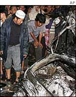 Wreckage from the church bombings in Jakarta in 2000