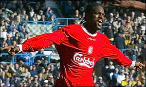 Salif Diao celebrates after giving Liverpool the lead