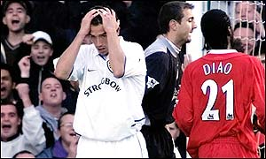Harry Kewell's expression says it all after his misses Leeds' best chance