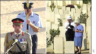 Britain's Duke of Kent giving a speech and couple viewing graves in the British cemetery