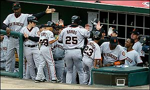 San Francisco's Barry Bonds celebrates a home run