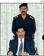 Saddam Hussein at meeting of Revolutionary Command Council