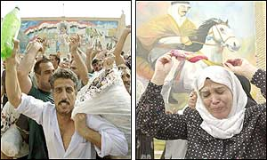 Iraqi prisoners (left) and their relatives chant Hussein's name and dance. (AFP/AP)