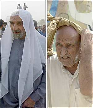 Political prisoner Ayatollah Mohammad Taba (left) and 74-year-old Hassan Abdelkarim, sentenced to 160 years in jail for killing five people walked out of jail