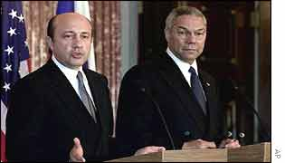 Russian Foreign Minister Igor Ivanov (left)  with Colin Powell in 2001