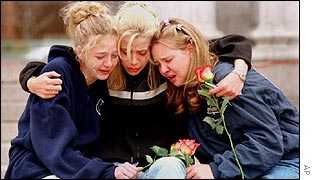 Students grieve after the Columbine massacre