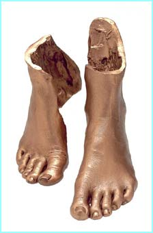 Loads of stars have had bits of their bodies cast in bronze so they can be sold for charity, these are Patsy Palmer's feet