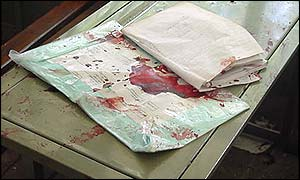 Blood-spattered exercise book