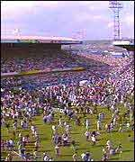 A scene from the Hillsborough disaster