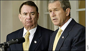 US President George W Bush, right, announced the drug scheme with Secretary of Health and Human Services Tommy Thompson by his side.