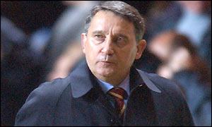 Aston Villa boss Graham Taylor looks concerned as he leaves the field