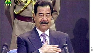 Saddam Hussein on Iraqi television at his swearing-in ceremony