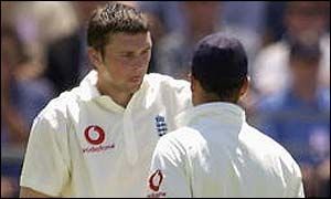 England captain Nasser Hussain offers some advice to the wayward Steve Harmison