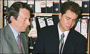 Hilda Murrell's nephew, Robert Green, with DCI Jim Tozer; copyright West Mercia Police 2002