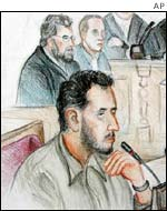 Court drawing of Mounir al-Motassadek