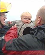 Child being rescued