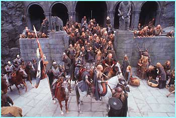 Rohan soldiers gather at the great fortress Helm's Deep - Photo Credit: Pierre Vinet/New Line Cinema