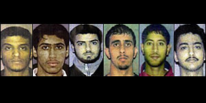 The six suspects, from left to right, Faysal Galab, Mukhtar Al-Bakri, Sahim Alwan, Yahya Goba , Shafal Mosed, and Yasein Taher