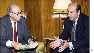 UN chief weapons inspector Hans Blix [left] with Russian Foreign Minister, Igor Ivanov