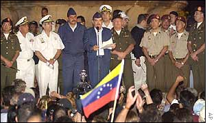 Some of the military officers with supporters at a rally held in central Caracas