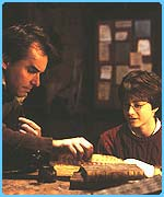 Director Chris Columbus chats with Daniel Radcliffe