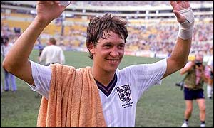 Gary Linker celebrates his hat-trick against Poland