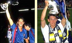 Gary Lineker lifts the European Cup Winners Cup in 1989 and the 1991 FA Cup